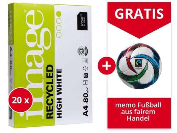 "10.000 Blatt Recycling-Kopierpapier ""Image Recycled High White"" + Gratis memo Fußball"