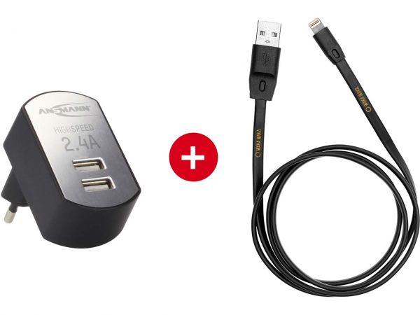 """Ansmann USB-Ladegerät """"iUSB Charger 2.4 DUO"""" + WakaWaka Ladekabel mit Apple-Lightning Con."""