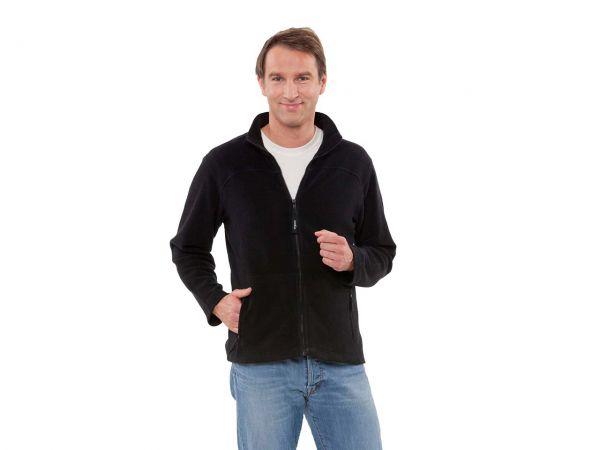 memo Herren-Fleece-Jacke schwarz Gr.S  aus Bio-Baumwolle mit Fairtrade Siegel