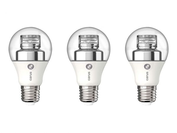 "3er-Pack carus LED-Lampe ""Dim by click"" 8 W, E27, 600 lm, dimmbar"