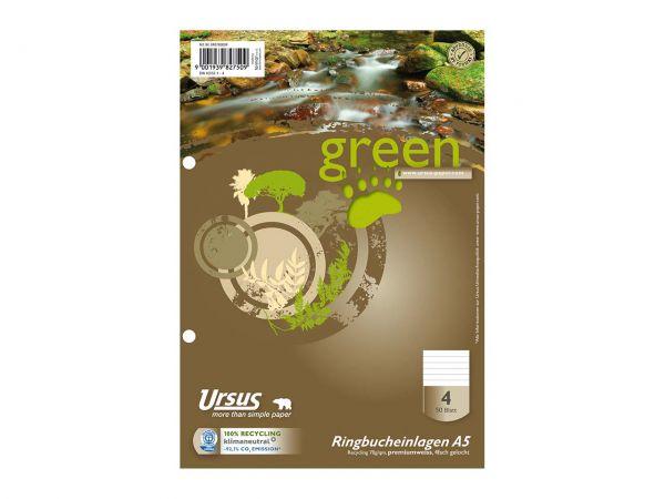 """Ursus Ringbucheinlage """"green"""" DIN A5 liniert, 50 Blatt, 70 g/m²"""