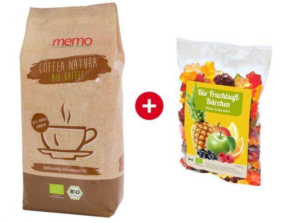 """memo Bio-Kaffee """"Coffea Natura"""" 500 g + memo Bio-Fruchtsaft-Bärchen 500 g"""