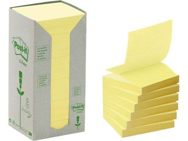 "3M Haftnotizen ""Z-Notes"" Tower gelb, 76 x 76 mm, 16 Blocks a 100 Blatt"