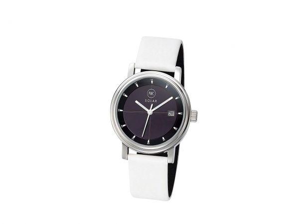 "Solar Armbanduhr ""Eco3"" Damen mit Lederband weiß"