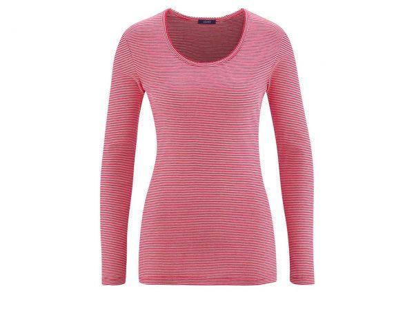 "Bio-Damen-Relaxlangarmshirt ""Emily"" poppy red/weiß, Gr. XS"