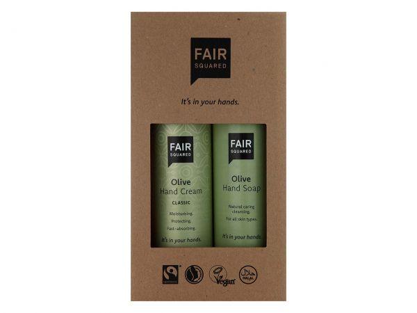 """Fair Squared Geschenkset """"Olive"""" Handcreme 250 ml und Seife 250 ml"""