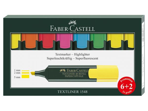 "Faber Castell Textmarker-Set ""Textliner"" 6+2 Promotion"