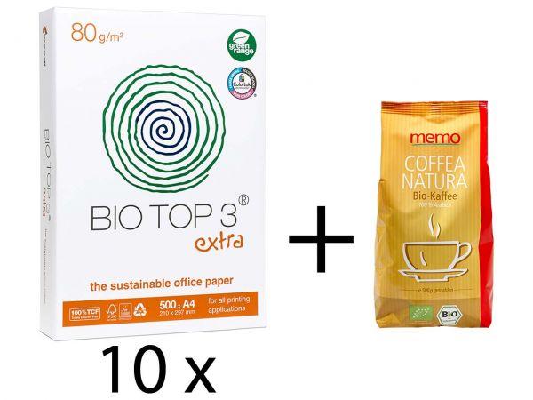 "5.000 Blatt mondi ""BioTop 3 extra"" & Gratis memo Kaffee ""Coffea Natura"""