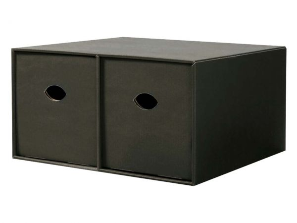 Doppel-Stapelbox für CDs, schwarz