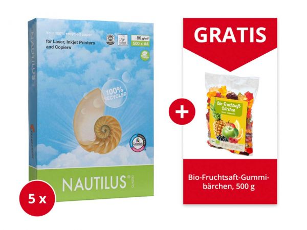 """5x500 Blatt mondi Recycling-Kopierpapier """"Nautilus Classic""""DIN A4+Gratis Gummibärchen 500g"""
