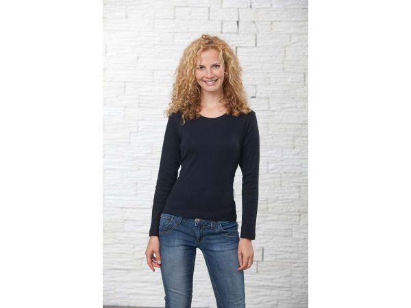 memo Damen Langarm-Shirt schwarz,Gr.L,210g/m² aus Bio-Baumwolle mit Fairtrade-Siegel
