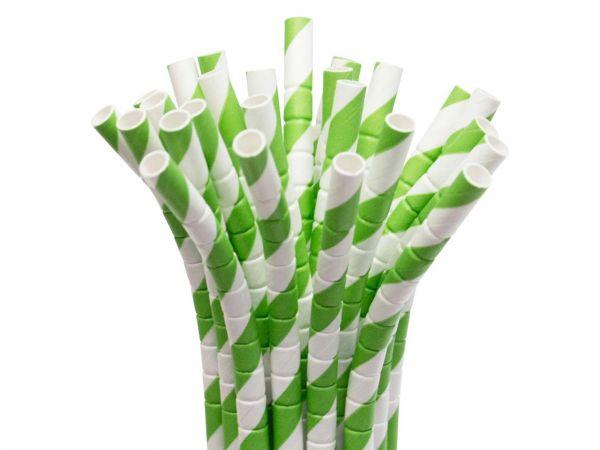 25 Knickbare Strohhalme aus Papier grün