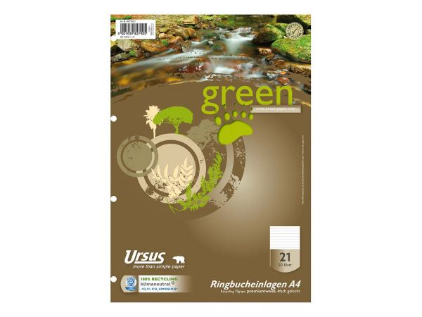 """Ursus Ringbucheinlage """"green"""" DIN A4 liniert, 50 Blatt"""