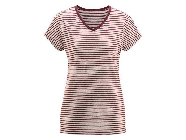 """Bio-Damen-T-Shirt """"Ava"""" aus Leinen weiß/rot, Gr. XS"""