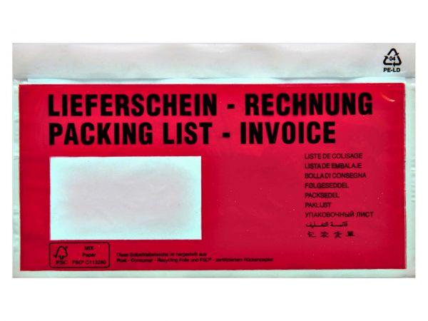 250 Dokumenten- und Lieferscheintaschen DIN lang aus Recycling-Polyethylen