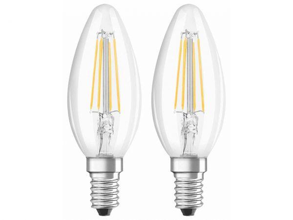 """2-er Pack OSRAM LED-Lampe """"Star Filament"""" CLB 40, 4 W, E14, 470 lm, klar"""